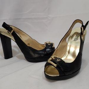 EUC MICHAEL Kors Black Leather Platform Heels 8.5